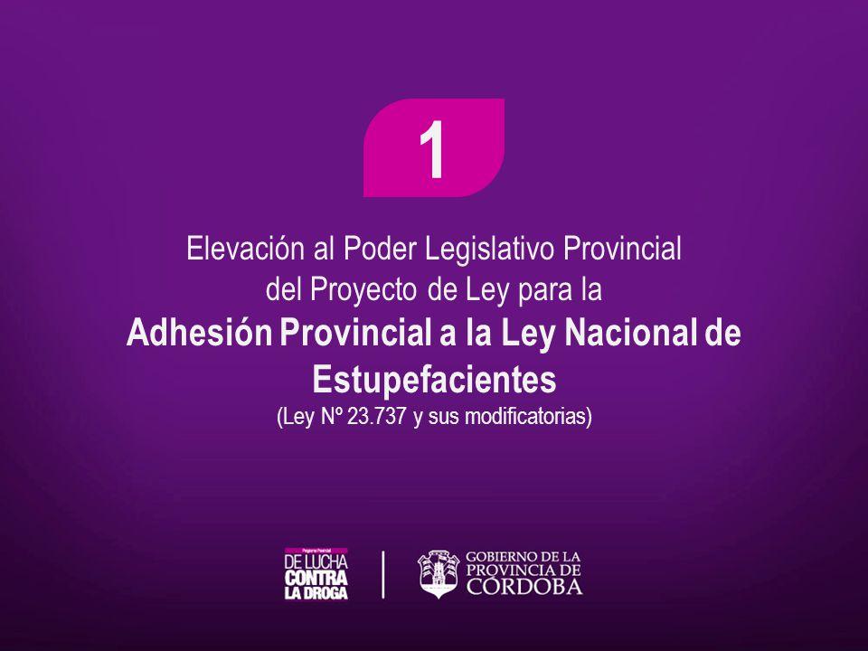 Elevación al Poder Legislativo Provincial del Proyecto de Ley para la Adhesión Provincial a la Ley Nacional de Estupefacientes (Ley Nº 23.737 y sus mo