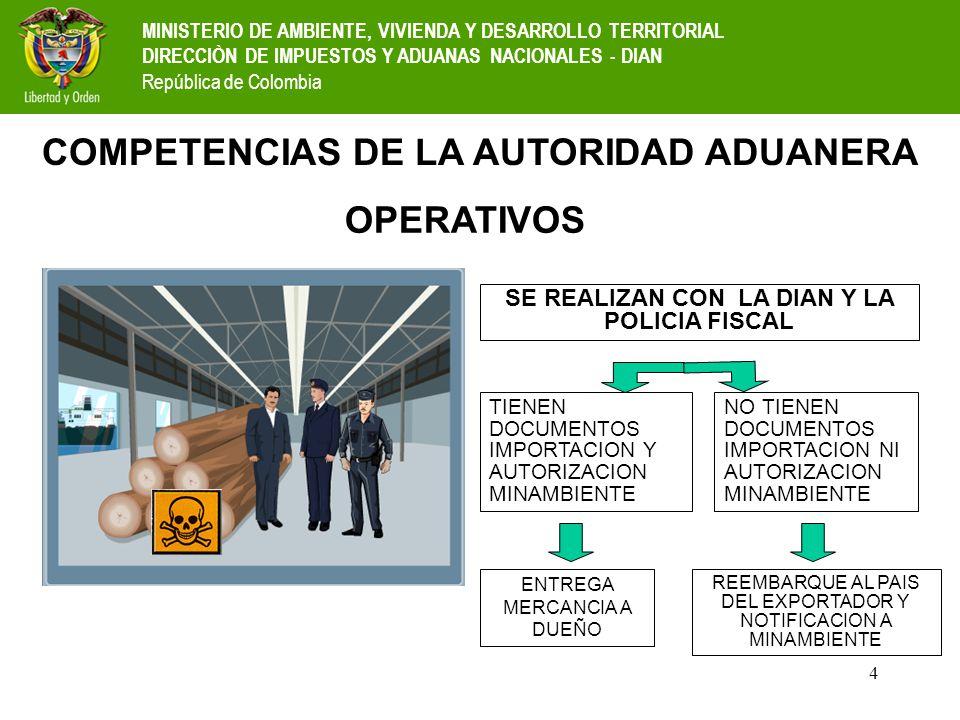 4 OPERATIVOS SE REALIZAN CON LA DIAN Y LA POLICIA FISCAL TIENEN DOCUMENTOS IMPORTACION Y AUTORIZACION MINAMBIENTE NO TIENEN DOCUMENTOS IMPORTACION NI