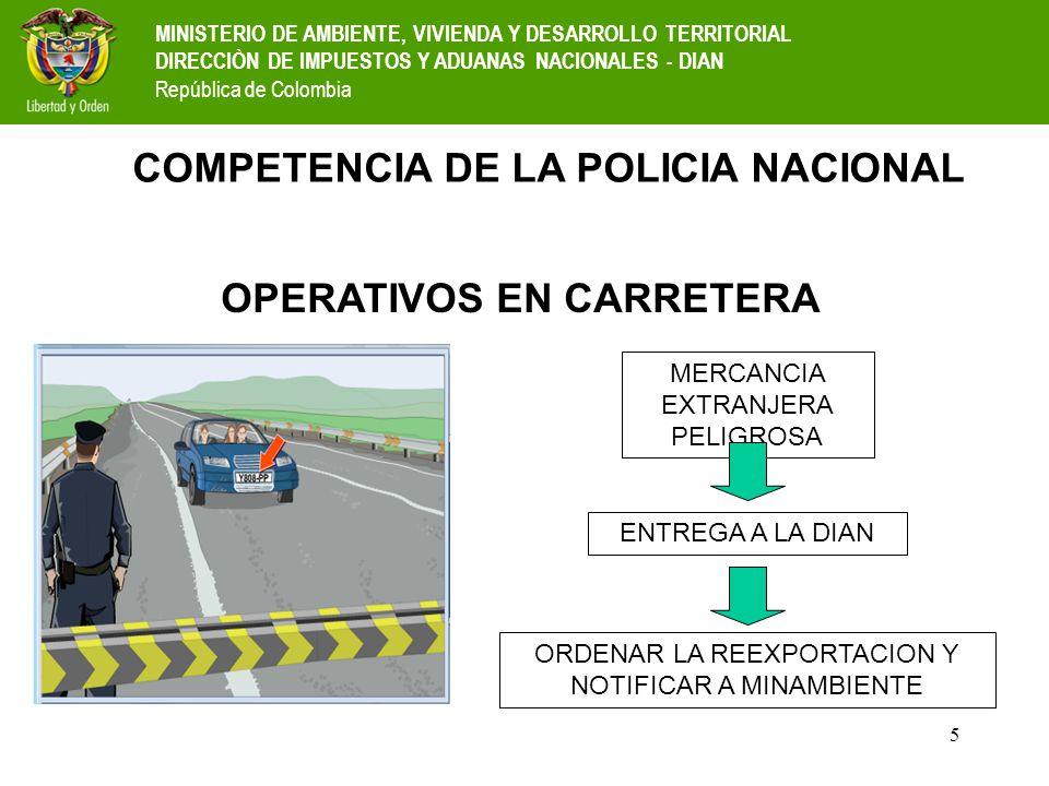 5 COMPETENCIA DE LA POLICIA NACIONAL MERCANCIA EXTRANJERA PELIGROSA ENTREGA A LA DIAN ORDENAR LA REEXPORTACION Y NOTIFICAR A MINAMBIENTE OPERATIVOS EN