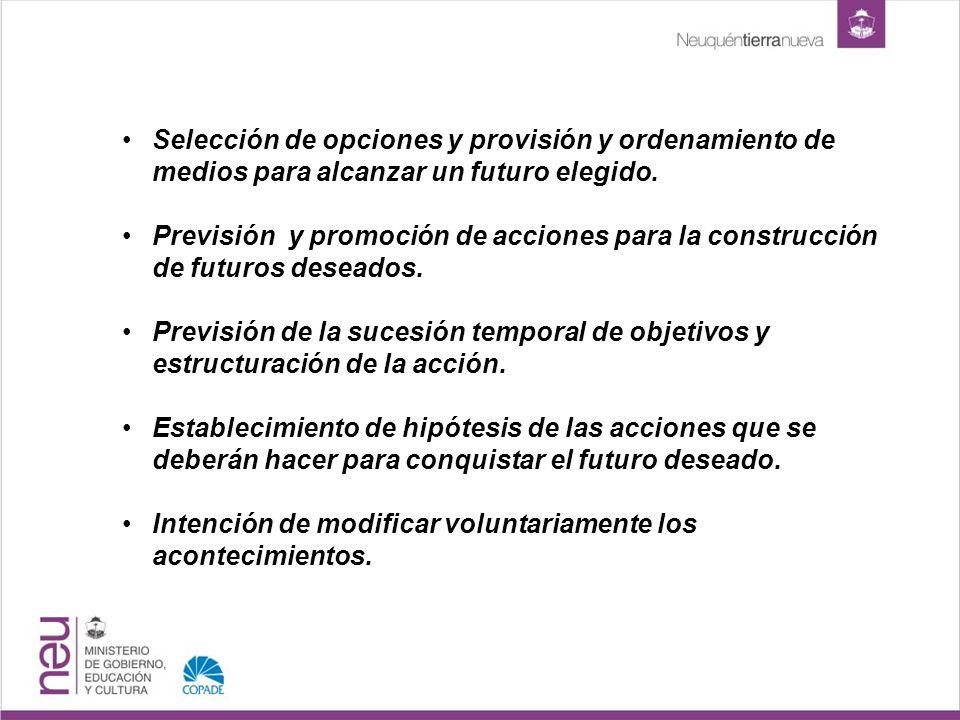 Selección de opciones y provisión y ordenamiento de medios para alcanzar un futuro elegido.