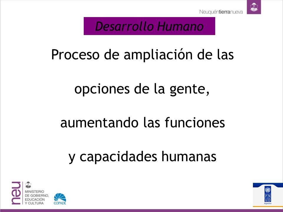 Desarrollo Humano Proceso de ampliación de las opciones de la gente, aumentando las funciones y capacidades humanas