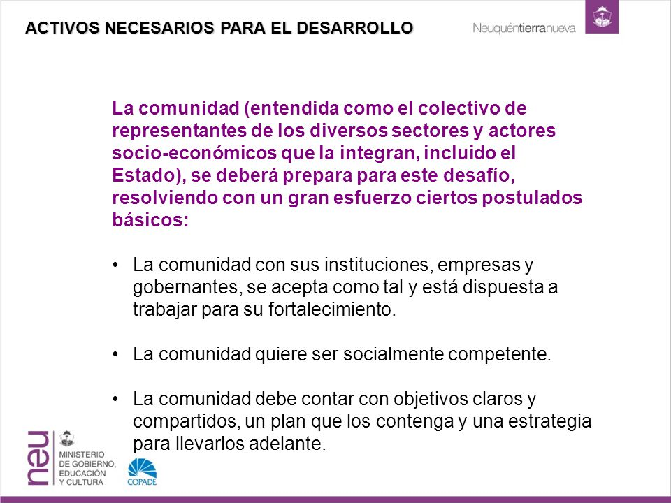 La comunidad (entendida como el colectivo de representantes de los diversos sectores y actores socio-económicos que la integran, incluido el Estado),