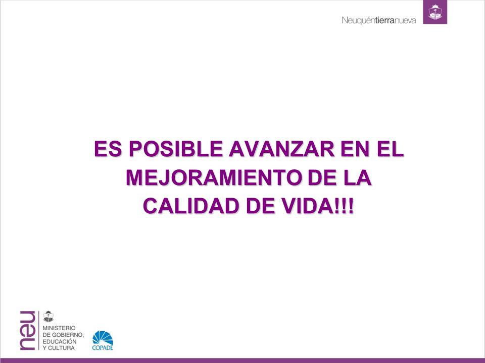 ES POSIBLE AVANZAR EN EL MEJORAMIENTO DE LA CALIDAD DE VIDA!!!