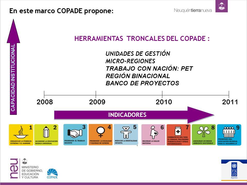HERRAMIENTAS TRONCALES DEL COPADE : UNIDADES DE GESTIÓN MICRO-REGIONES TRABAJO CON NACIÓN: PET REGIÓN BINACIONAL BANCO DE PROYECTOS En este marco COPADE propone : 2008200920102011 INDICADORES CAPACIDAD INSTITUCIONAL