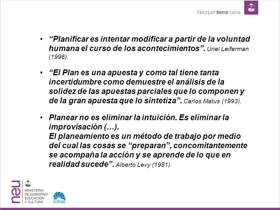 Planificar es intentar modificar a partir de la voluntad humana el curso de los acontecimientos. Uriel Leiferman (1996). El Plan es una apuesta y como