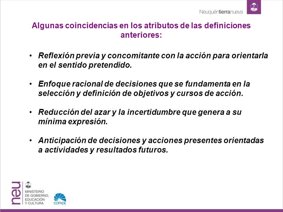 Algunas coincidencias en los atributos de las definiciones anteriores: Reflexión previa y concomitante con la acción para orientarla en el sentido pretendido.