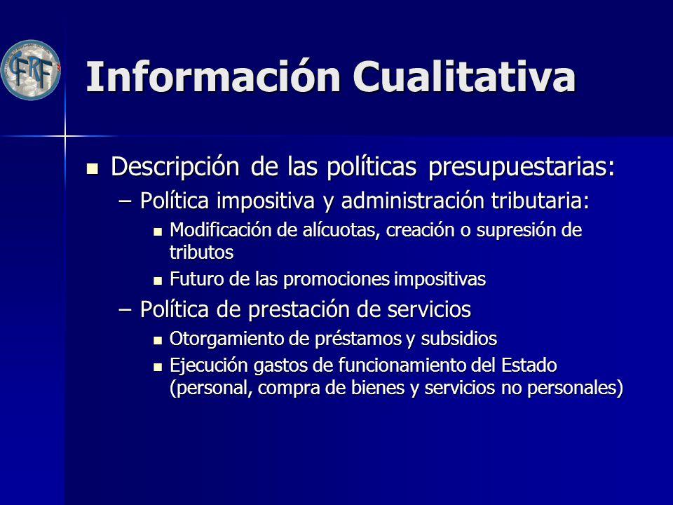 Información Cualitativa Descripción de las políticas presupuestarias: Descripción de las políticas presupuestarias: –Política impositiva y administrac