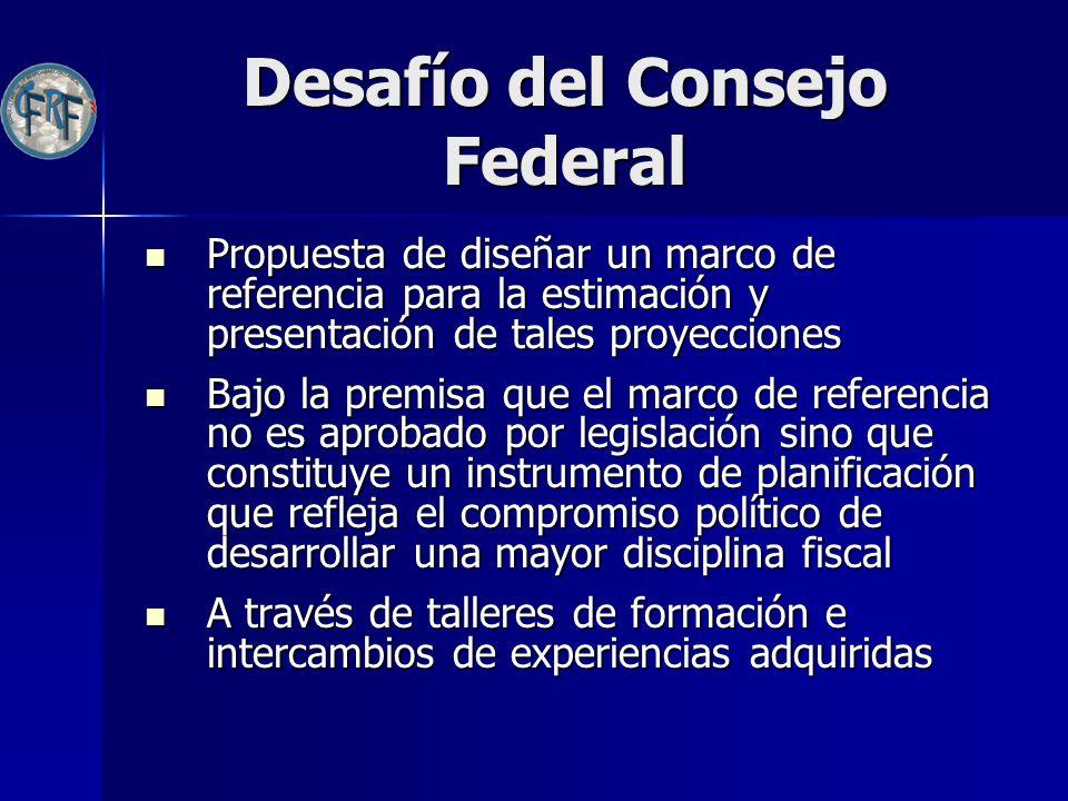 Desafío del Consejo Federal Propuesta de diseñar un marco de referencia para la estimación y presentación de tales proyecciones Propuesta de diseñar u