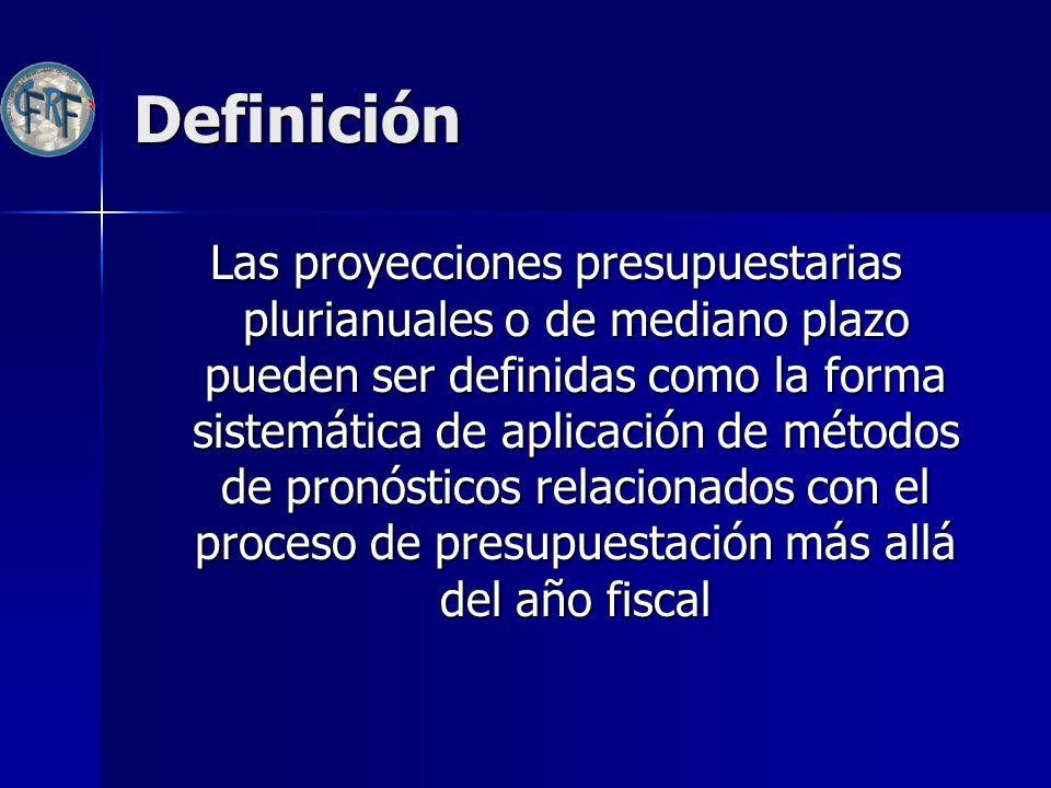 Objetivo Razones que ameritan el análisis de mediano plazo de las cuentas fiscales: Razones que ameritan el análisis de mediano plazo de las cuentas fiscales: –Dimensionar el impacto futuro de gastos significativos: servicios de la deuda, obras de infraestructura, etc.