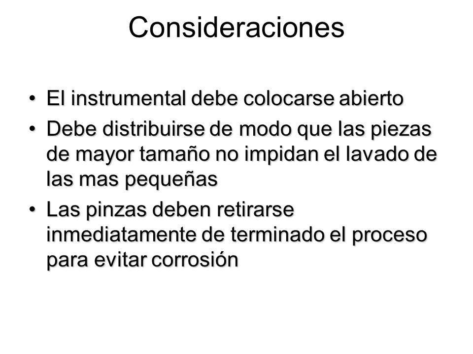 Consideraciones El instrumental debe colocarse abiertoEl instrumental debe colocarse abierto Debe distribuirse de modo que las piezas de mayor tamaño