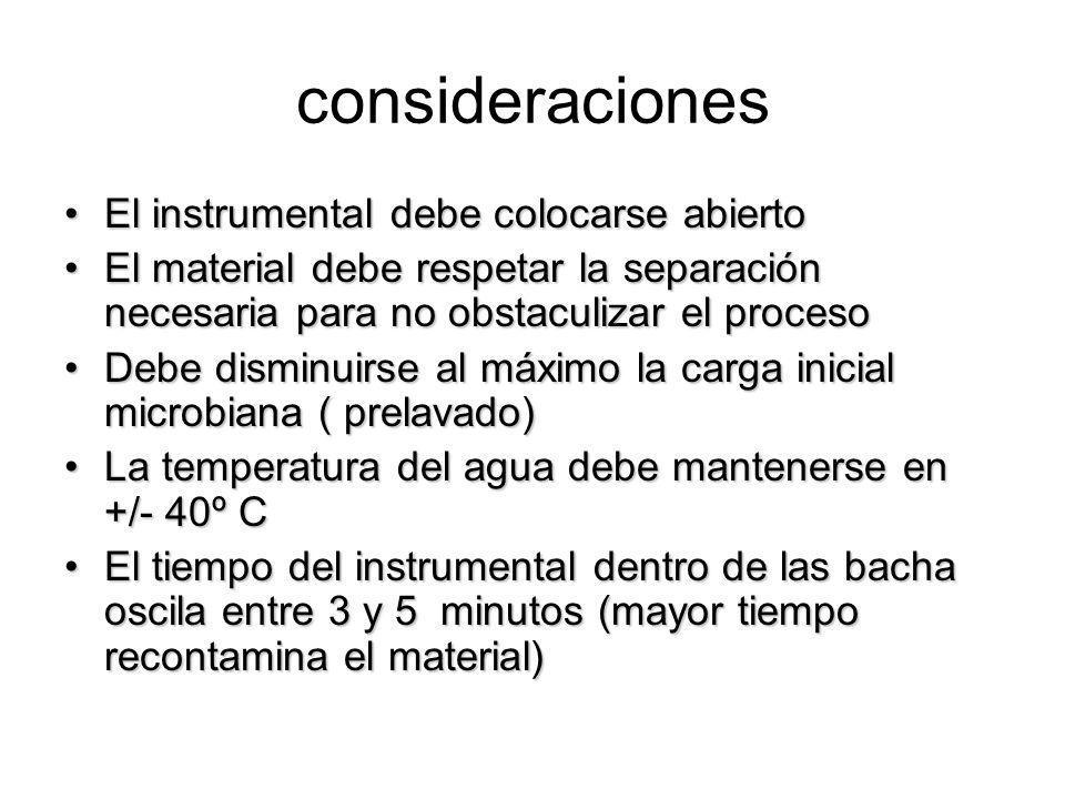 consideraciones El instrumental debe colocarse abiertoEl instrumental debe colocarse abierto El material debe respetar la separación necesaria para no