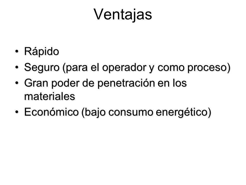 Ventajas RápidoRápido Seguro (para el operador y como proceso)Seguro (para el operador y como proceso) Gran poder de penetración en los materialesGran