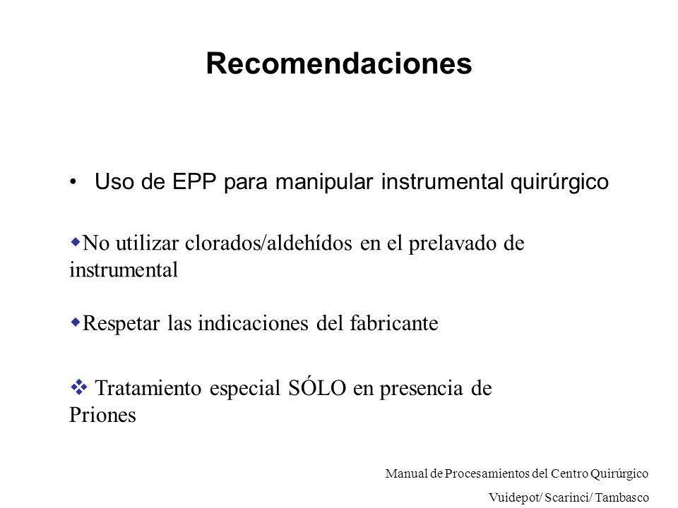 Recomendaciones Uso de EPP para manipular instrumental quirúrgico No utilizar clorados/aldehídos en el prelavado de instrumental Respetar las indicaci