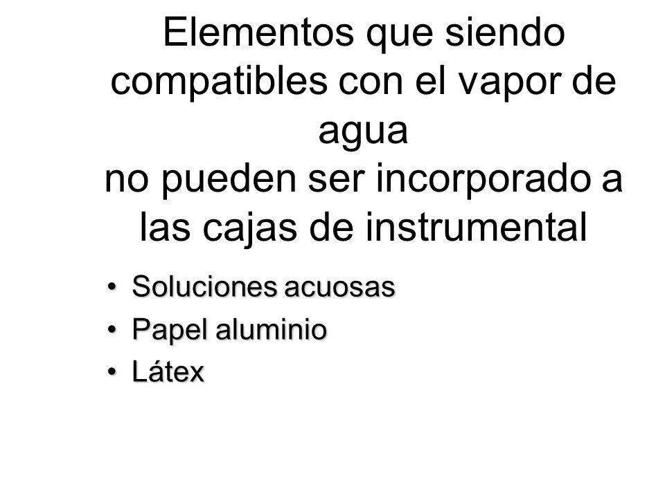 Elementos que siendo compatibles con el vapor de agua no pueden ser incorporado a las cajas de instrumental Soluciones acuosasSoluciones acuosas Papel