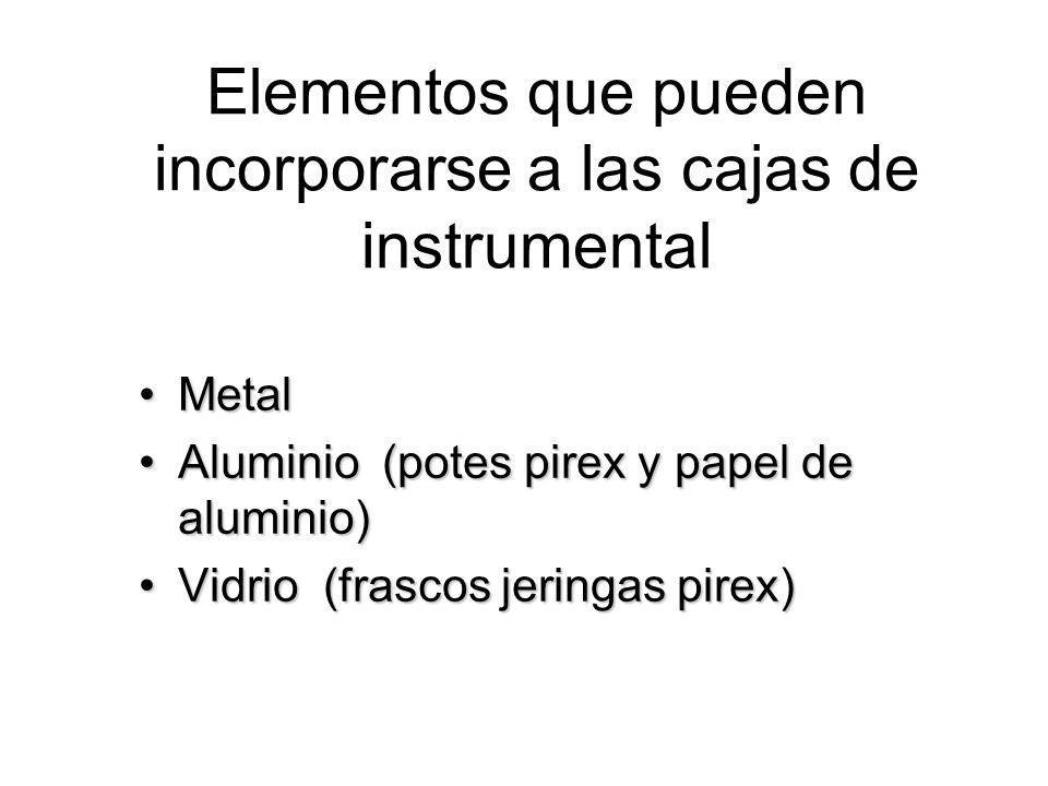 Elementos que pueden incorporarse a las cajas de instrumental MetalMetal Aluminio (potes pirex y papel de aluminio)Aluminio (potes pirex y papel de al