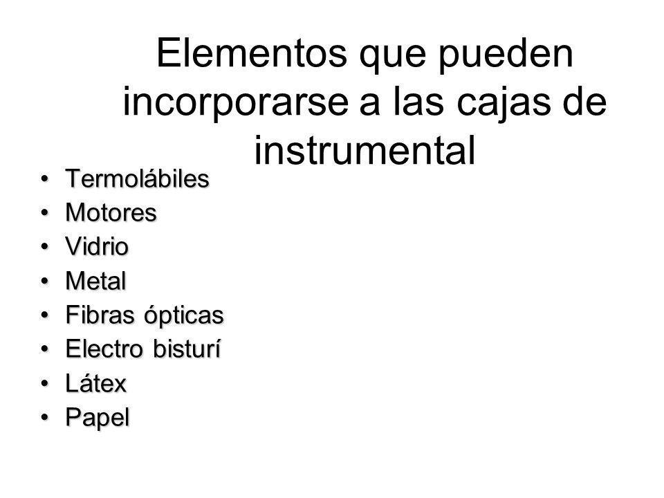 Elementos que pueden incorporarse a las cajas de instrumental TermolábilesTermolábiles MotoresMotores VidrioVidrio MetalMetal Fibras ópticasFibras ópt