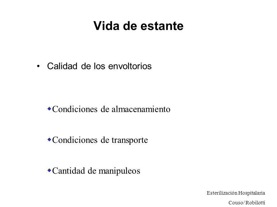 Vida de estante Calidad de los envoltorios Condiciones de almacenamiento Condiciones de transporte Cantidad de manipuleos Esterilización Hospitalaria