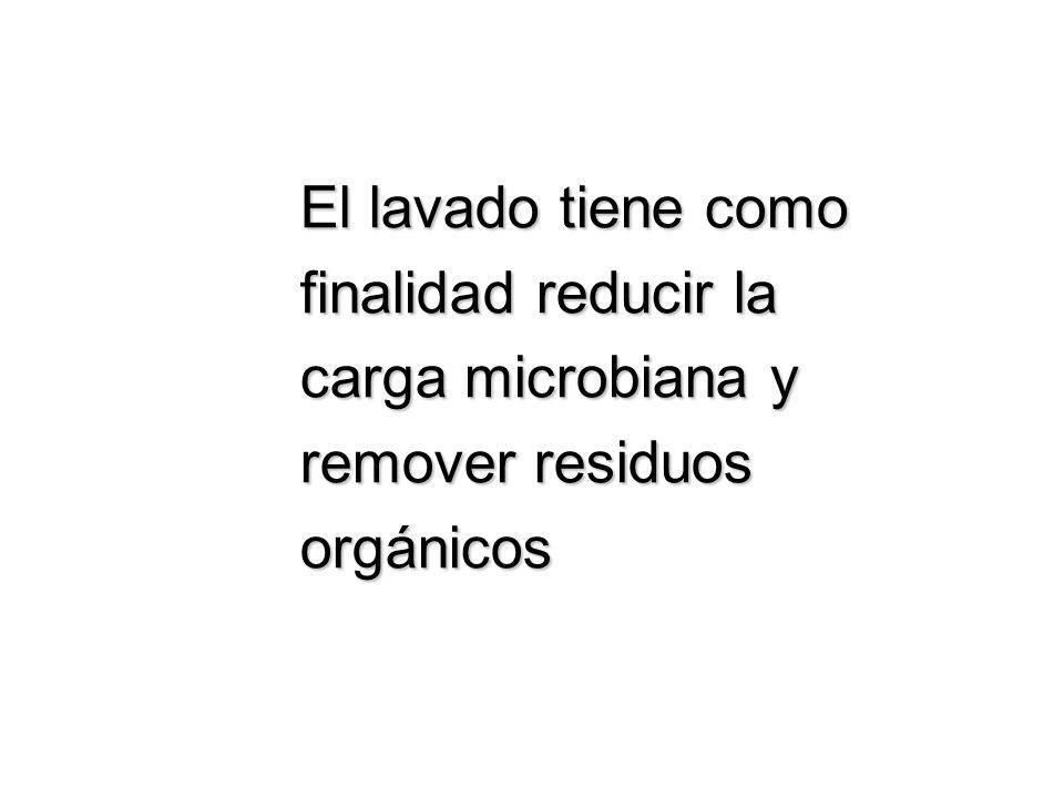 El lavado tiene como finalidad reducir la carga microbiana y remover residuos orgánicos