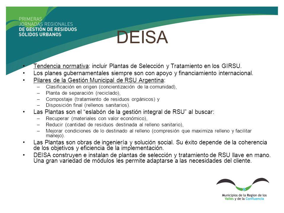 DEISA Tendencia normativa: incluir Plantas de Selección y Tratamiento en los GIRSU. Los planes gubernamentales siempre son con apoyo y financiamiento