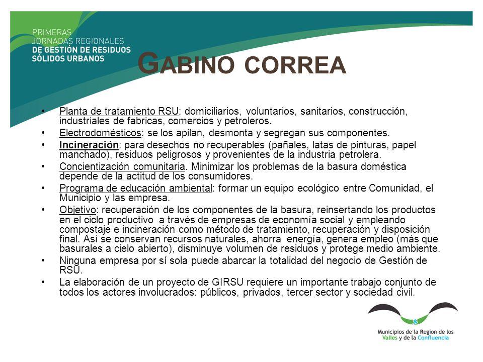 G ABINO CORREA Planta de tratamiento RSU: domiciliarios, voluntarios, sanitarios, construcción, industriales de fabricas, comercios y petroleros. Elec