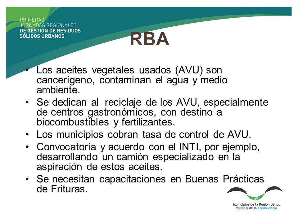 RBA Los aceites vegetales usados (AVU) son cancerígeno, contaminan el agua y medio ambiente. Se dedican al reciclaje de los AVU, especialmente de cent