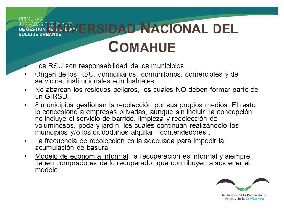 U NIVERSIDAD N ACIONAL DEL C OMAHUE Los RSU son responsabilidad de los municipios. Origen de los RSU: domiciliarios, comunitarios, comerciales y de se