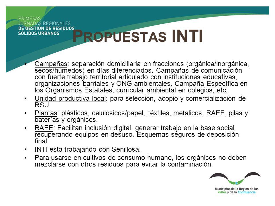P ROPUESTAS INTI Campañas: separación domiciliaria en fracciones (orgánica/inorgánica, secos/húmedos) en días diferenciados. Campañas de comunicación