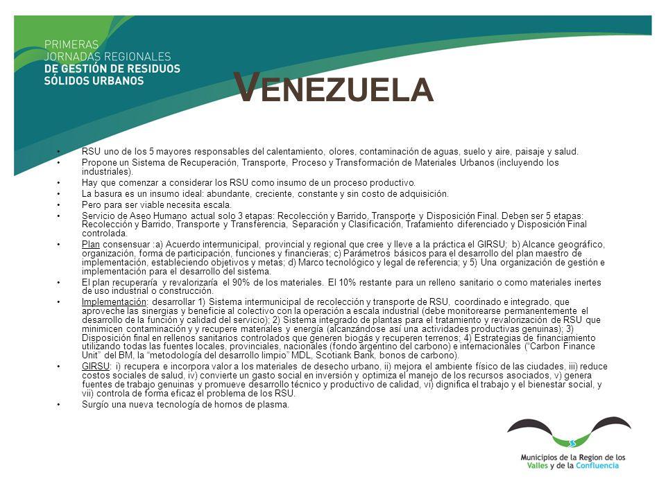 V ENEZUELA RSU uno de los 5 mayores responsables del calentamiento, olores, contaminación de aguas, suelo y aire, paisaje y salud. Propone un Sistema