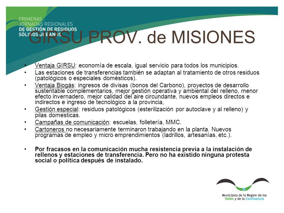 GIRSU PROV. de MISIONES Ventaja GIRSU: economía de escala, igual servicio para todos los municipios. Las estaciones de transferencias también se adapt