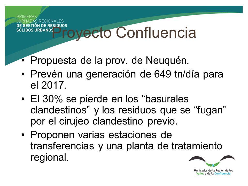 Proyecto Confluencia Propuesta de la prov. de Neuquén. Prevén una generación de 649 tn/día para el 2017. El 30% se pierde en los basurales clandestino