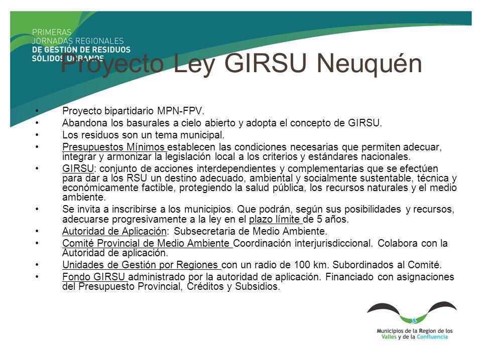 Proyecto Ley GIRSU Neuquén Proyecto bipartidario MPN-FPV. Abandona los basurales a cielo abierto y adopta el concepto de GIRSU. Los residuos son un te