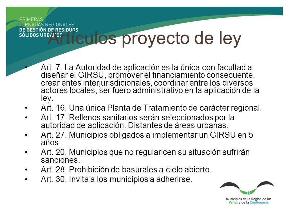 Artículos proyecto de ley Art. 7. La Autoridad de aplicación es la única con facultad a diseñar el GIRSU, promover el financiamiento consecuente, crea