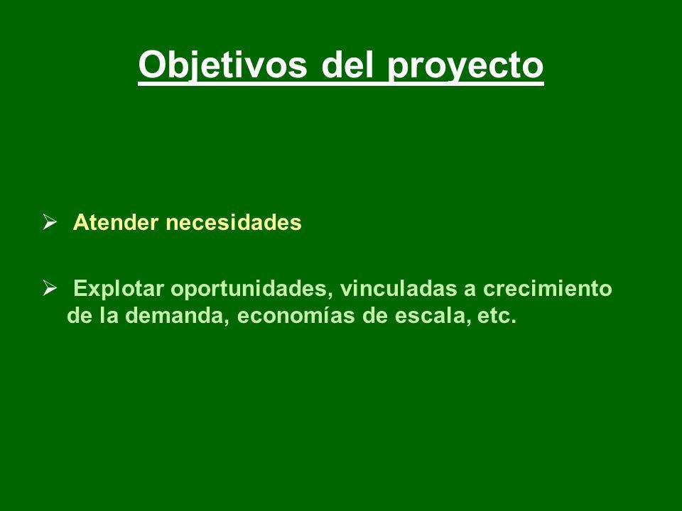 Objetivos del proyecto Atender necesidades Explotar oportunidades, vinculadas a crecimiento de la demanda, economías de escala, etc.