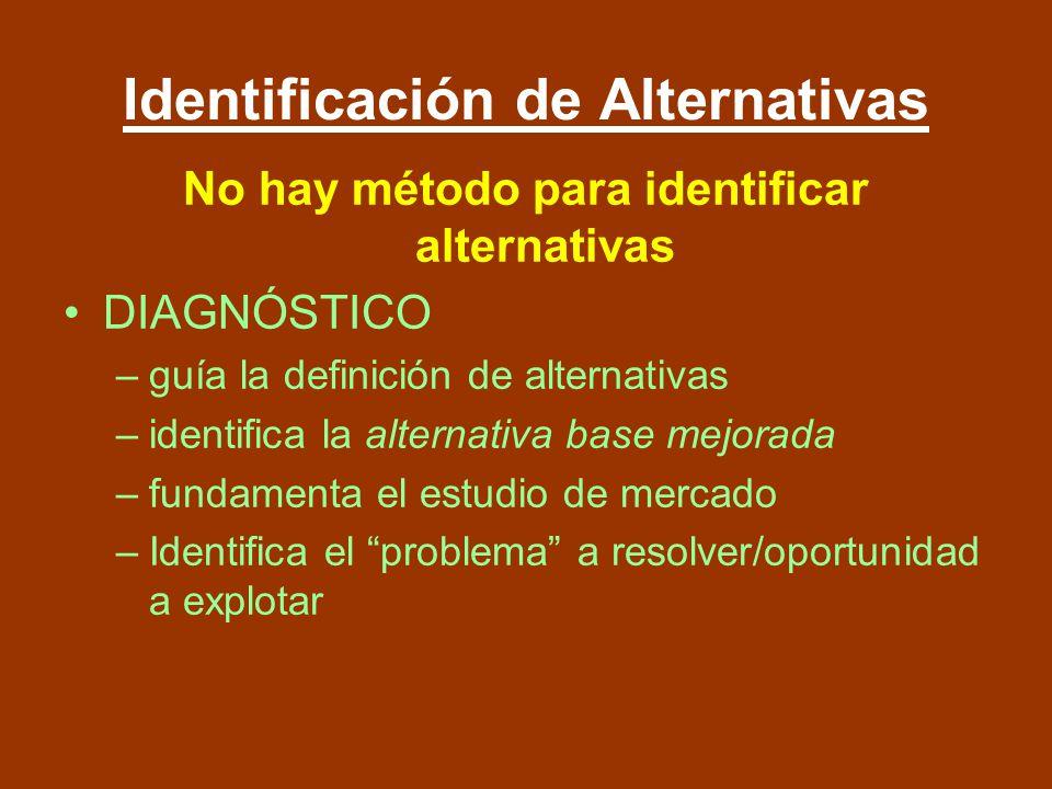 Identificación de Alternativas No hay método para identificar alternativas DIAGNÓSTICO –guía la definición de alternativas –identifica la alternativa