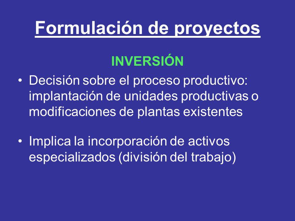 Formulación de proyectos INVERSIÓN Decisión sobre el proceso productivo: implantación de unidades productivas o modificaciones de plantas existentes I