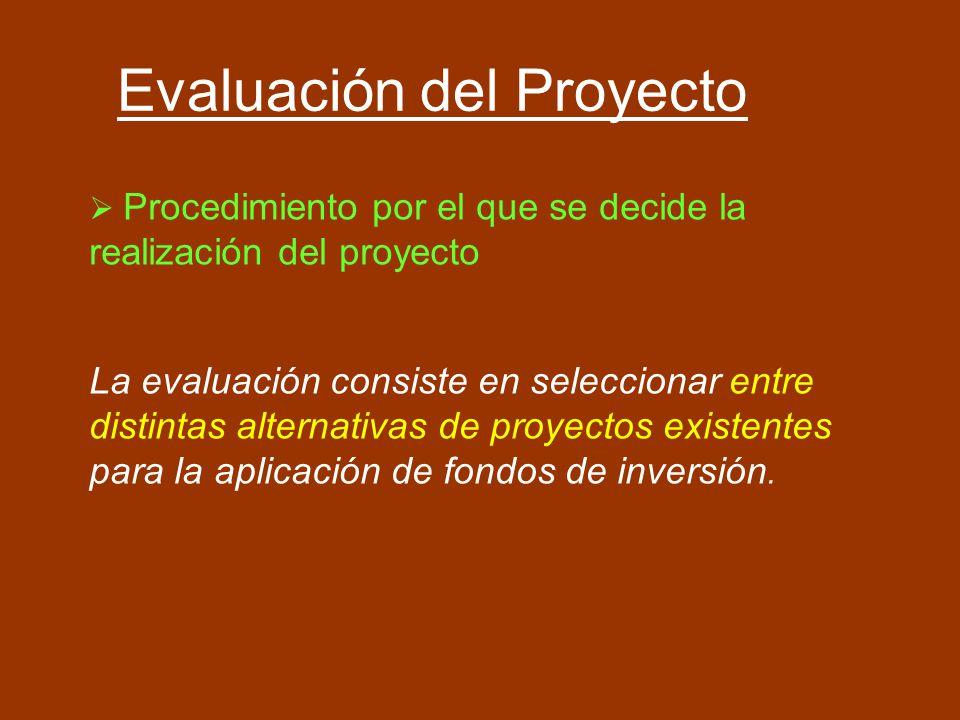 Evaluación del Proyecto Procedimiento por el que se decide la realización del proyecto La evaluación consiste en seleccionar entre distintas alternati
