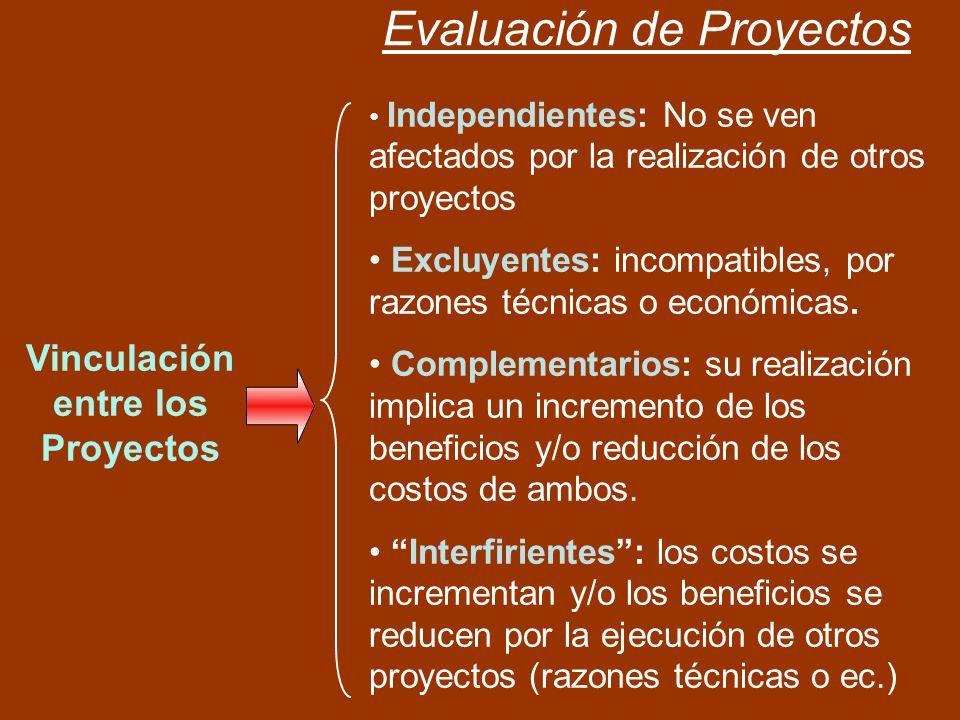 Evaluación de Proyectos Vinculación entre los Proyectos Independientes: No se ven afectados por la realización de otros proyectos Excluyentes: incompa