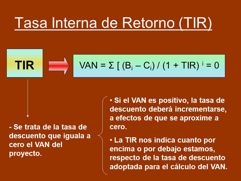 Tasa Interna de Retorno (TIR) VAN = Σ [ (B i – C i ) / (1 + TIR) i = 0 TIR - Se trata de la tasa de descuento que iguala a cero el VAN del proyecto. S
