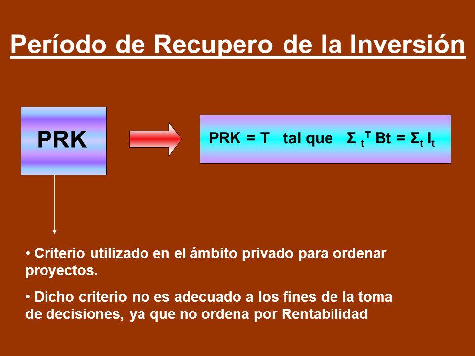 Período de Recupero de la Inversión PRK PRK = T tal que Σ t T Bt = Σ t I t Criterio utilizado en el ámbito privado para ordenar proyectos. Dicho crite