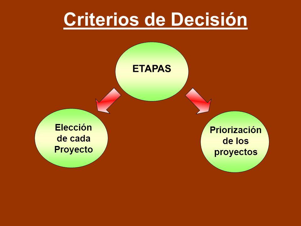 Criterios de Decisión Elección de cada Proyecto Priorización de los proyectos ETAPAS