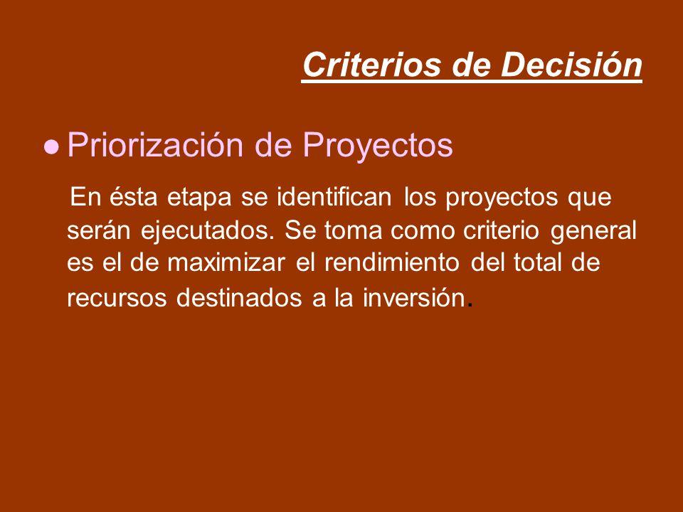 Criterios de Decisión Priorización de Proyectos En ésta etapa se identifican los proyectos que serán ejecutados. Se toma como criterio general es el d