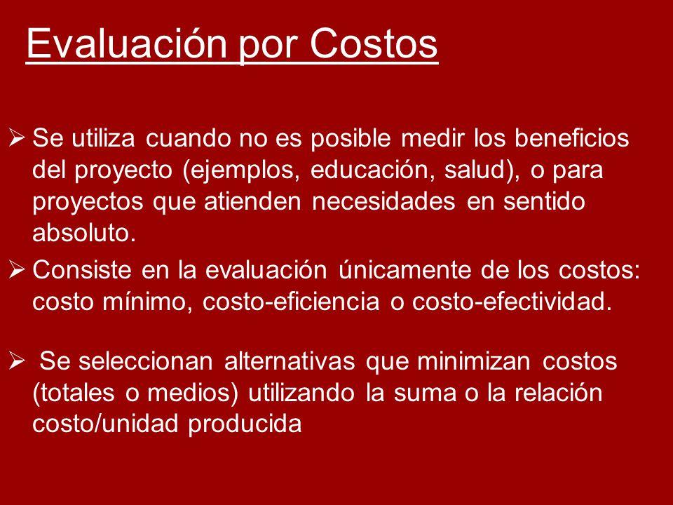 Evaluación por Costos Se utiliza cuando no es posible medir los beneficios del proyecto (ejemplos, educación, salud), o para proyectos que atienden ne