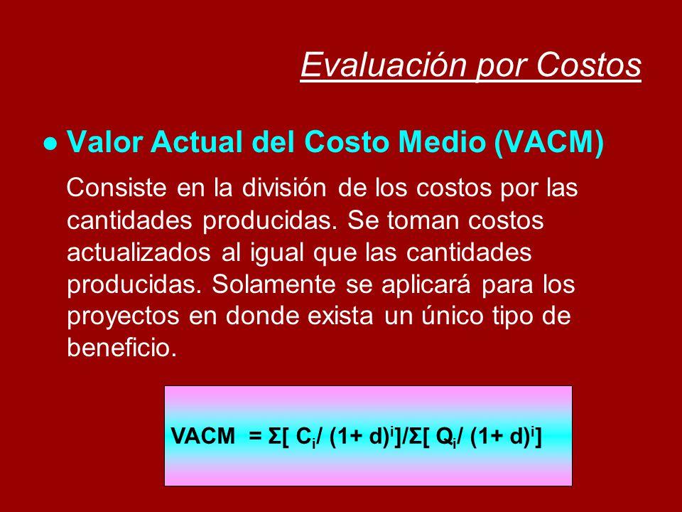 Evaluación por Costos Valor Actual del Costo Medio (VACM) Consiste en la división de los costos por las cantidades producidas. Se toman costos actuali