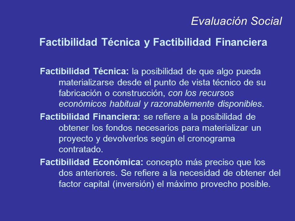 Evaluación Social Factibilidad Técnica y Factibilidad Financiera Factibilidad Técnica: la posibilidad de que algo pueda materializarse desde el punto