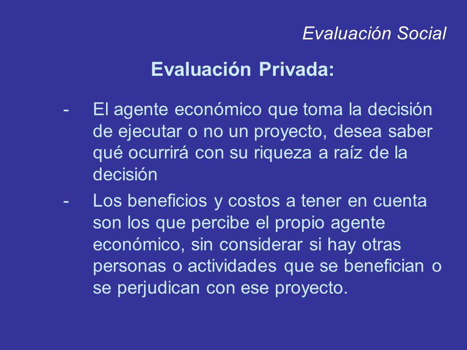 Evaluación Social Evaluación Privada: -El agente económico que toma la decisión de ejecutar o no un proyecto, desea saber qué ocurrirá con su riqueza