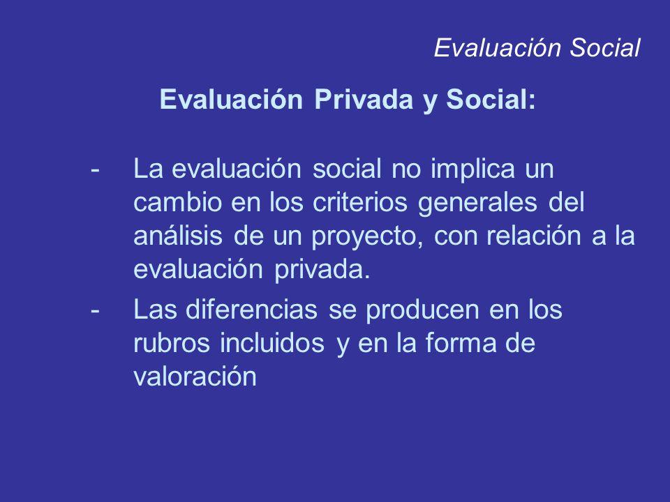 Evaluación Social Evaluación Privada y Social: -La evaluación social no implica un cambio en los criterios generales del análisis de un proyecto, con