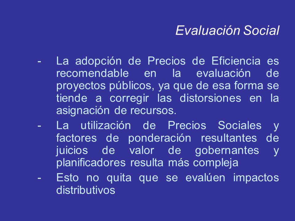 Evaluación Social -La adopción de Precios de Eficiencia es recomendable en la evaluación de proyectos públicos, ya que de esa forma se tiende a correg