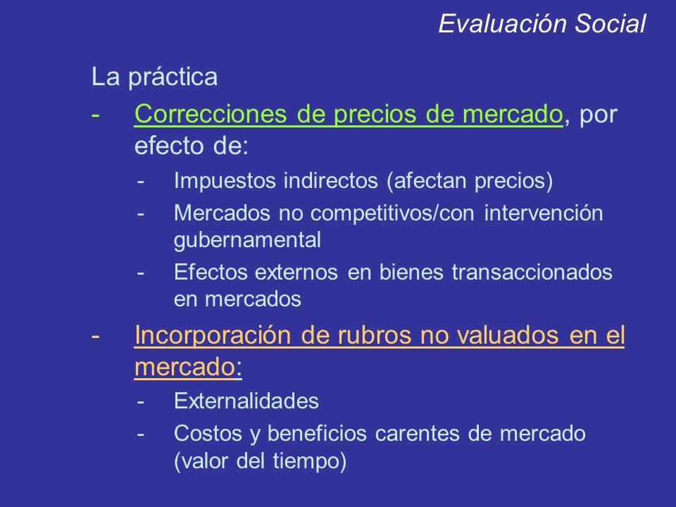 Evaluación Social La práctica -Correcciones de precios de mercado, por efecto de: -Impuestos indirectos (afectan precios) -Mercados no competitivos/co