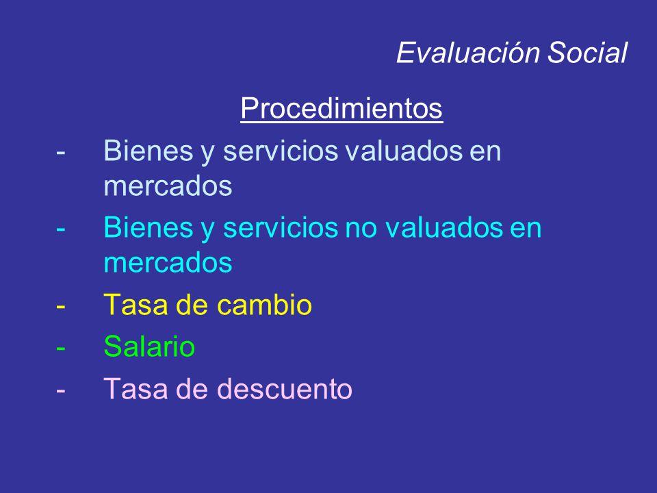 Evaluación Social Procedimientos -Bienes y servicios valuados en mercados -Bienes y servicios no valuados en mercados -Tasa de cambio -Salario -Tasa d