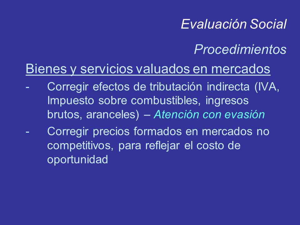 Evaluación Social Procedimientos Bienes y servicios valuados en mercados -Corregir efectos de tributación indirecta (IVA, Impuesto sobre combustibles,